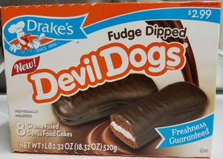 Fudge Dipped Devil Dogs nice when they are in the Frig